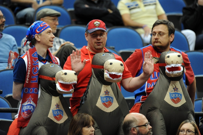 Oct 7, 2013; Minneapolis, MN, USA;  Fans for CSKA Moscow in the stands during a time out in the third quarter at Target Center.  CSKA Moscow defeated the Minnesota Timberwolves 108-106 in overtime.  Mandatory Credit: Marilyn Indahl-USA TODAY Sports