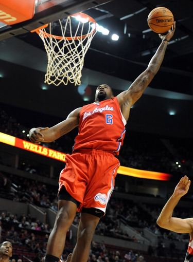 Oct 7, 2013; Portland, OR, USA; Los Angeles Clippers center DeAndre Jordan (6) drives to the basket during the first quarter against the Portland Trail Blazers at Moda Center. Mandatory Credit: Steve Dykes-USA TODAY Sports