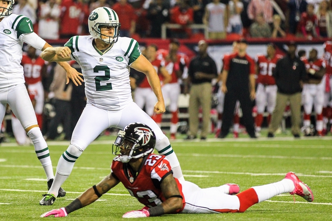 Oct 7, 2013; Atlanta, GA, USA; New York Jets place kicker Nick Folk (2) celebrates the game winning field goal kick in the second half against the Atlanta Falcons at the Georgia Dome. The Jets won 30-28. Mandatory Credit: Daniel Shirey-USA TODAY Sports