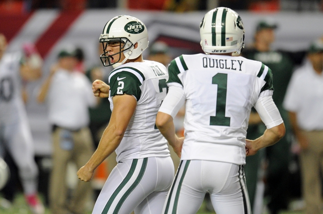 Oct 7, 2013; Atlanta, GA, USA; New York Jets place kicker Nick Folk (2) reacts after kicking the game winning field goal against the Atlanta Falcons during the fourth quarter at the Georgia Dome. The Jets defeated the Falcons 30-28. Mandatory Credit: Dale Zanine-USA TODAY Sports