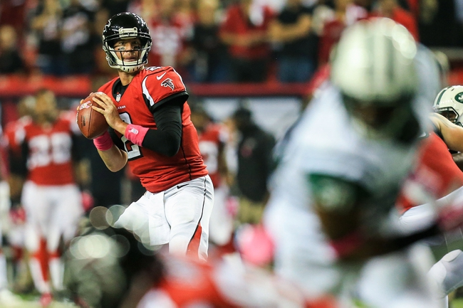 Oct 7, 2013; Atlanta, GA, USA; Atlanta Falcons quarterback Matt Ryan (2) drops back to pass in the second half against the New York Jets at the Georgia Dome. The Jets won 30-28. Mandatory Credit: Daniel Shirey-USA TODAY Sports