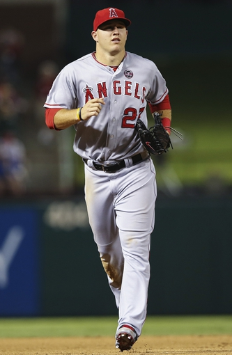 Sep 26, 2013; Arlington, TX, USA; Los Angeles Angels center fielder Mike Trout (27)  during the game against the Texas Rangers at Rangers Ballpark in Arlington. Mandatory Credit: Kevin Jairaj-USA TODAY Sports