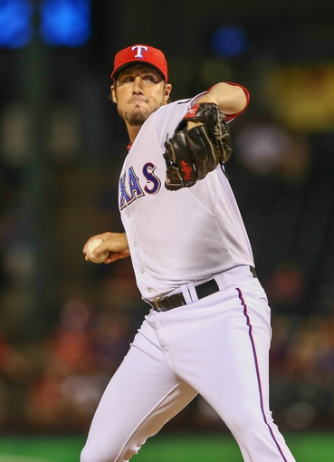 Sep 26, 2013; Arlington, TX, USA; Texas Rangers relief pitcher Joe Nathan (36) throws during the game against the Los Angeles Angels at Rangers Ballpark in Arlington. Mandatory Credit: Kevin Jairaj-USA TODAY Sports