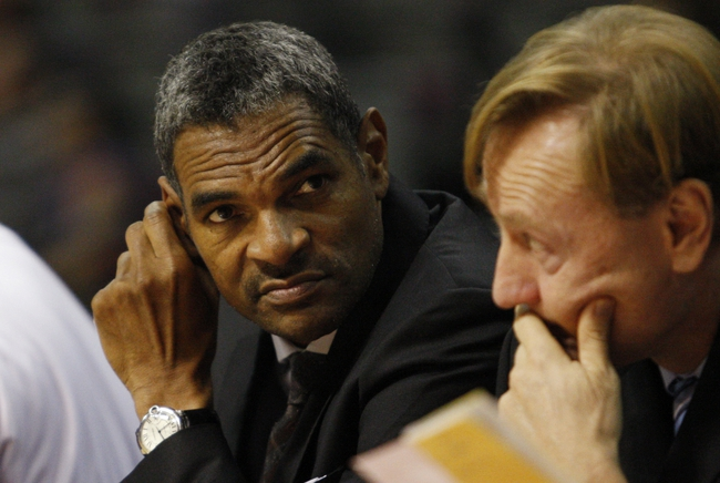 Oct 8, 2013; Auburn Hills, MI, USA; Detroit Pistons head coach Maurice Cheeks (left) during the second quarter against Haifa at The Palace of Auburn Hills. Mandatory Credit: Raj Mehta-USA TODAY Sports