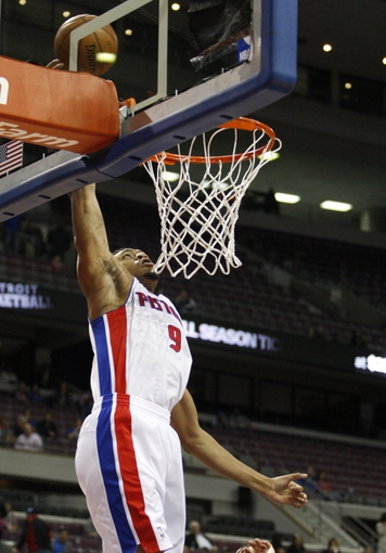 Oct 8, 2013; Auburn Hills, MI, USA; Detroit Pistons forward Tony Mitchell (9) tries to make a shot during the second quarter against Haifa at The Palace of Auburn Hills. Mandatory Credit: Raj Mehta-USA TODAY Sports