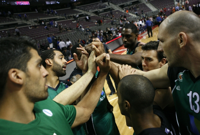 Oct 8, 2013; Auburn Hills, MI, USA; Haifa team members get together after the game against the Detroit Pistons at The Palace of Auburn Hills. Pistons beat Haifa 91-69. Mandatory Credit: Raj Mehta-USA TODAY Sports