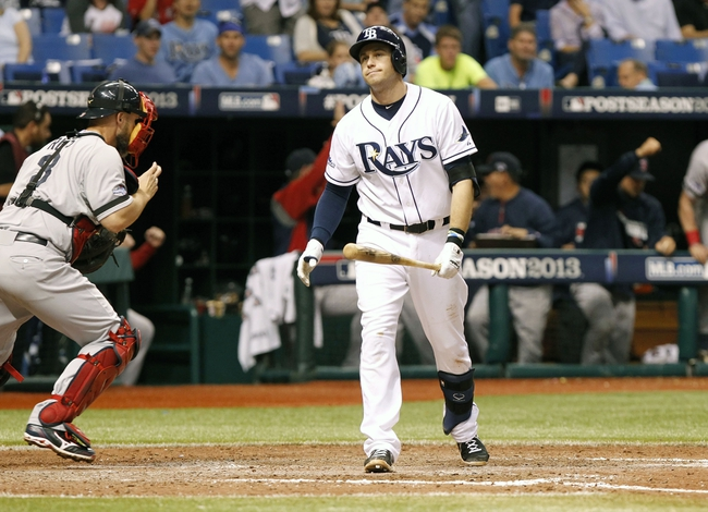 Oct 8, 2013; St. Petersburg, FL, USA; Tampa Bay Rays third baseman Evan Longoria (3) reacts after he struck out to end the game against the Boston Red Sox of game four of the American League divisional series at Tropicana Field. Boston Red Sox defeated theTampa Bay Rays 3-1. Mandatory Credit: Kim Klement-USA TODAY Sports