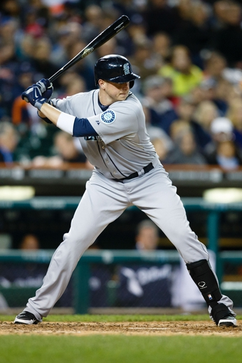 Sep 16, 2013; Detroit, MI, USA; Seattle Mariners first baseman Justin Smoak (17) at bat against the Detroit Tigers at Comerica Park. Mandatory Credit: Rick Osentoski-USA TODAY Sports