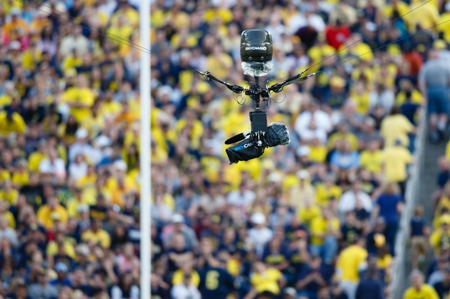 Oct 5, 2013; Ann Arbor, MI, USA; Sky cam during the game between the Michigan Wolverines and the Minnesota Golden Gophers at Michigan Stadium. Mandatory Credit: Rick Osentoski-USA TODAY Sports