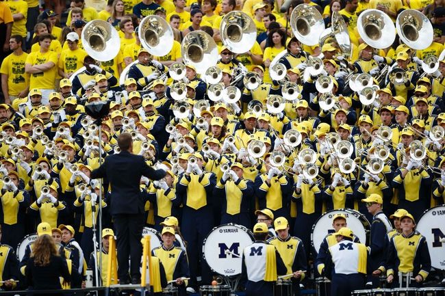 Oct 5, 2013; Ann Arbor, MI, USA; Michigan Wolverines marching band during the game against the Minnesota Golden Gophers at Michigan Stadium. Mandatory Credit: Rick Osentoski-USA TODAY Sports