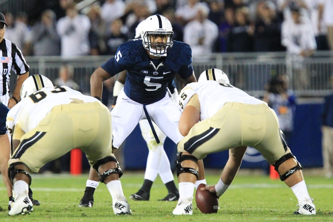Sep 14, 2013; University Park, PA, USA; Penn State Nittany Lions linebacker Nyeem Wartman (5) during the fourth quarter against the Central Florida Knights at Beaver Stadium. Mandatory Credit: Matthew O'Haren-USA TODAY Sports