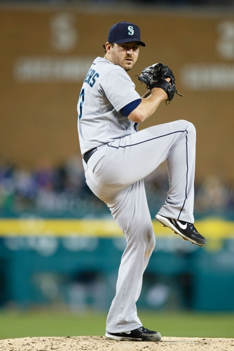 Sep 16, 2013; Detroit, MI, USA; Seattle Mariners starting pitcher Joe Saunders (23) pitches against the Detroit Tigers at Comerica Park. Mandatory Credit: Rick Osentoski-USA TODAY Sports