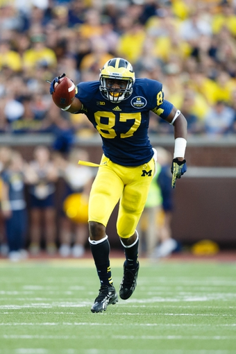 Oct 5, 2013; Ann Arbor, MI, USA; Michigan Wolverines tight end Devin Funchess (87) celebrates a reception in the fourth quarter against the Minnesota Golden Gophers at Michigan won 42-13. Michigan Stadium. Mandatory Credit: Rick Osentoski-USA TODAY Sports