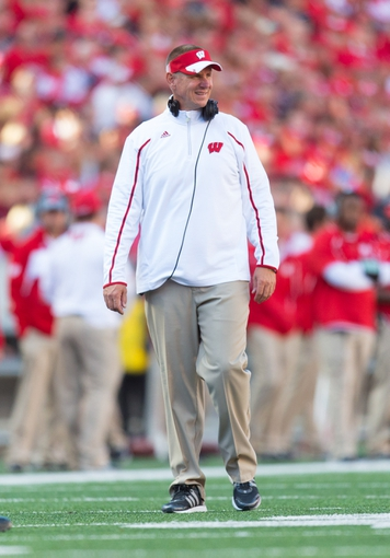 Sep 21, 2013; Madison, WI, USA;  Wisconsin Badgers head coach Gary Andersen during the game against the Purdue Boilermakers at Camp Randall Stadium. Wisconsin defeated Purdue 41-10.  Mandatory Credit: Jeff Hanisch-USA TODAY Sports