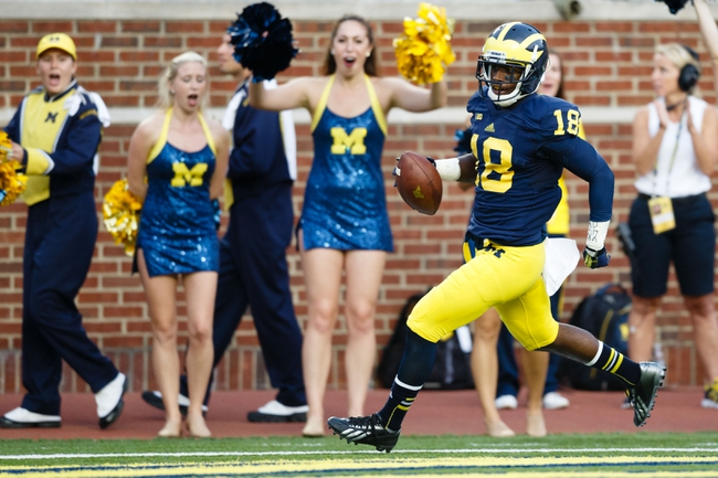 Oct 5, 2013; Ann Arbor, MI, USA; Michigan Wolverines defensive back Blake Countess (18) scores a touchdown on a seventy two yard interception return against the Minnesota Golden Gophers in the fourth quarter at Michigan Stadium. Michigan won 42-13. Mandatory Credit: Rick Osentoski-USA TODAY Sports