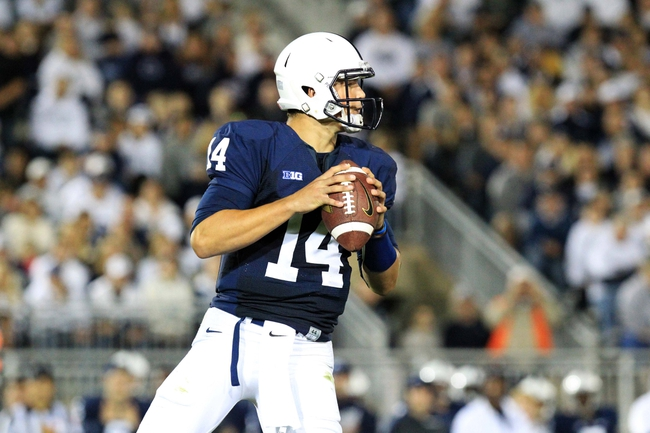 Sep 14, 2013; University Park, PA, USA; Penn State Nittany Lions quarterback Christian Hackenberg (14) during the fourth quarter against the Central Florida Knights at Beaver Stadium. Mandatory Credit: Matthew O'Haren-USA TODAY Sports