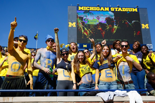 Sep 14, 2013; Ann Arbor, MI, USA; Michigan Wolverines fans during the game against the Akron Zips at Michigan Stadium. Mandatory Credit: Rick Osentoski-USA TODAY Sports