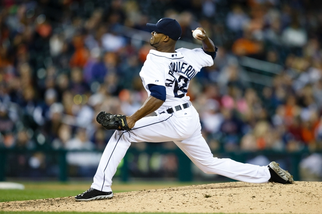 Sep 21, 2013; Detroit, MI, USA; Detroit Tigers relief pitcher Al Alburquerque (62) pitches against the Chicago White Sox at Comerica Park. Mandatory Credit: Rick Osentoski-USA TODAY Sports