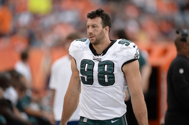 Sep 29, 2013; Denver, CO, USA; Philadelphia Eagles outside linebacker Connor Barwin (98) during the game against the Denver Broncos at Sports Authority Field at Mile High. The Broncos defeated the Eagles 52-20. Mandatory Credit: Ron Chenoy-USA TODAY Sports