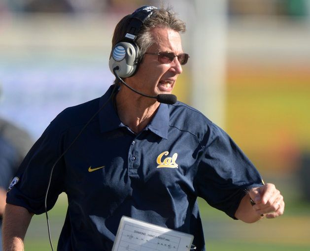 Oct 5, 2013; Berkeley, CA, USA; California Golden Bears special teams coordinator Mark Tommerdahl reacts during the game against the Washington State Cougars at Memorial Stadium. Washington State defeated California 44-22. Mandatory Credit: Kirby Lee-USA TODAY Sports