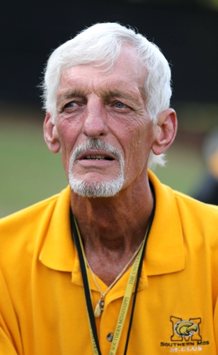 Aug 31, 2013; Hattiesburg, MS, USA; NFL former punter Ray Guy on the sidelines before the game between the Southern Miss Golden Eagles and the Texas State Bobcats at M.M. Roberts Stadium. Mandatory Credit: Chuck Cook-USA TODAY Sports