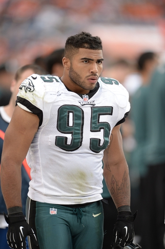 Sep 29, 2013; Denver, CO, USA; Philadelphia Eagles inside linebacker Mychal Kendricks (95) during the game against the Denver Broncos at Sports Authority Field at Mile High. The Broncos defeated the Eagles 52-20. Mandatory Credit: Ron Chenoy-USA TODAY Sports