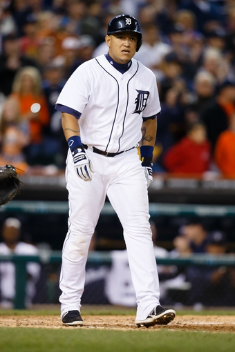 Sep 21, 2013; Detroit, MI, USA; Detroit Tigers third baseman Miguel Cabrera (24) during the game against the Chicago White Sox at Comerica Park. Mandatory Credit: Rick Osentoski-USA TODAY Sports