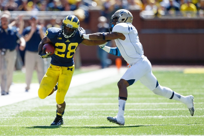 Sep 14, 2013; Ann Arbor, MI, USA; Michigan Wolverines running back Fitzgerald Toussaint (28) runs the ball against the Akron Zips at Michigan Stadium. Mandatory Credit: Rick Osentoski-USA TODAY Sports