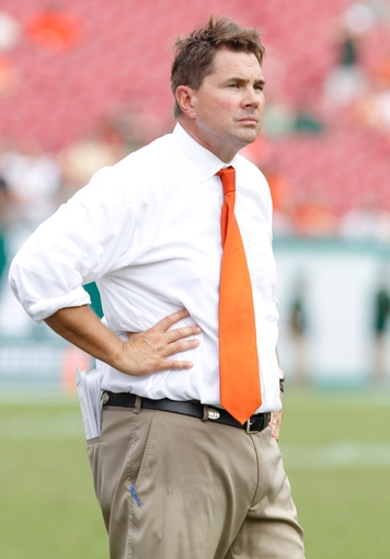 Sep 28, 2013; Tampa, FL, USA; Miami Hurricanes head coach Al Golden against the South Florida Bulls during the second half at Raymond James Stadium. Miami Hurricanes defeated the South Florida Bulls 49-21. Mandatory Credit: Kim Klement-USA TODAY Sports