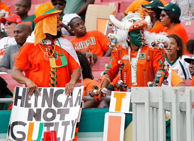 Sep 28, 2013; Tampa, FL, USA; Miami Hurricanes fans against the South Florida Bulls during the second half at Raymond James Stadium. Miami Hurricanes defeated the South Florida Bulls 49-21. Mandatory Credit: Kim Klement-USA TODAY Sports