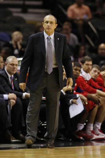 Oct 9, 2013; San Antonio, TX, USA; CSKA Moscow head coach Ettore Messina looks on during the first half against the San Antonio Spurs at the AT&T Center. Mandatory Credit: Soobum Im-USA TODAY Sports