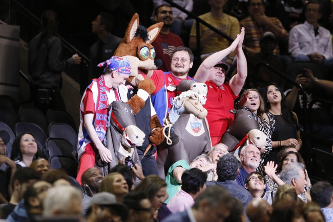 Oct 9, 2013; San Antonio, TX, USA; CSKA Moscow fans cheer on their team during the second half against the San Antonio Spurs at the AT&T Center. The Spurs won 95-93 in overtime. Mandatory Credit: Soobum Im-USA TODAY Sports