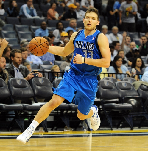 Oct 9, 2013; Memphis, TN, USA; Dallas Mavericks point guard Gal Mekel (33) handles the ball against the Memphis Grizzlies during the third quarter at FedExForum. Dallas Mavericks defeated Memphis Grizzlies 95-90.  Mandatory Credit: Justin Ford-USA TODAY Sports