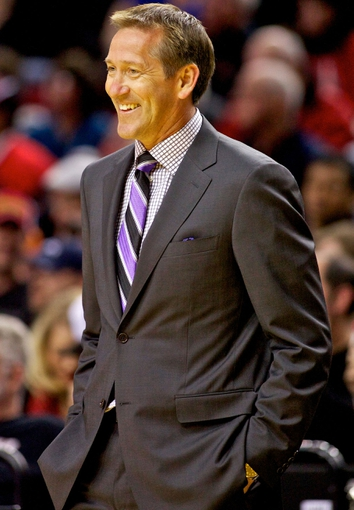 Oct 9, 2013; Portland, OR, USA; Phoenix Suns head coach Jeff Hornacek smiles in the first quarter against the Portland Trail Blazers at the Moda Center. Mandatory Credit: Craig Mitchelldyer-USA TODAY Sports
