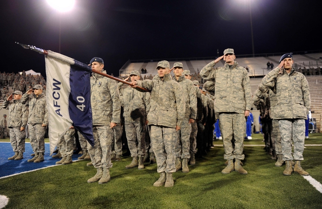 Oct 10, 2013; Colorado Springs, CO, USA; Air Force Falcons cadets at attention before the game against the San Diego State Aztecs at Falcon Stadium. Mandatory Credit: Ron Chenoy-USA TODAY Sports