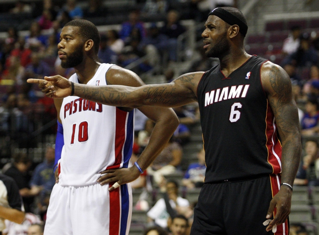 Oct 10, 2013; Auburn Hills, MI, USA; Miami Heat small forward LeBron James (6) argues with the referee  during the third quarter against the Detroit Pistons at The Palace of Auburn Hills. Heat beat the Pistons 112-107. Mandatory Credit: Raj Mehta-USA TODAY Sports