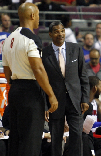 Oct 10, 2013; Auburn Hills, MI, USA; Detroit Pistons head coach Maurice Cheeks looks at referee Marc Davis (8) during the third quarter against the Miami Heat at The Palace of Auburn Hills. Heat beat the Pistons 112-107. Mandatory Credit: Raj Mehta-USA TODAY Sports