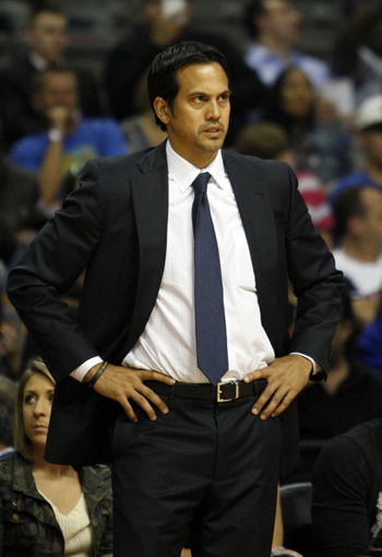 Oct 10, 2013; Auburn Hills, MI, USA; Miami Heat head coach Erik Spoelstra during the fourth quarter against the Detroit Pistons at The Palace of Auburn Hills. Heat beat the Pistons 112-107. Mandatory Credit: Raj Mehta-USA TODAY Sports