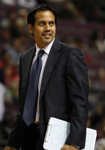 Oct 10, 2013; Auburn Hills, MI, USA; Miami Heat head coach Erik Spoelstra looks at the ref during the fourth quarter against the Detroit Pistons at The Palace of Auburn Hills. Heat beat the Pistons 112-107. Mandatory Credit: Raj Mehta-USA TODAY Sports
