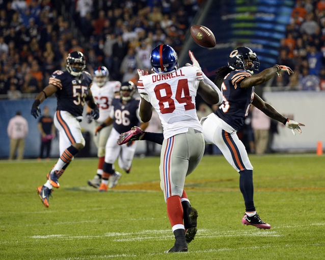Oct 10, 2013; Chicago, IL, USA; Chicago Bears cornerback Tim Jennings (26) breaks up a pass intended for New York Giants defensive back Terrell Thomas (24) during the second half at Soldier Field. Chicago defeats New York 27-21. Mandatory Credit: Mike DiNovo-USA TODAY Sports