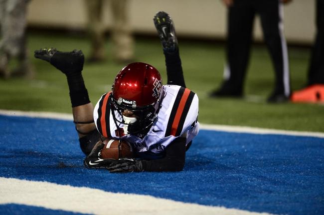 Oct 10, 2013; Colorado Springs, CO, USA; San Diego State Aztecs running back Donnel Pumphrey (19) scores a touchdown in the fourth quarter against the Air Force Falcons at Falcon Stadium. Mandatory Credit: Ron Chenoy-USA TODAY Sports