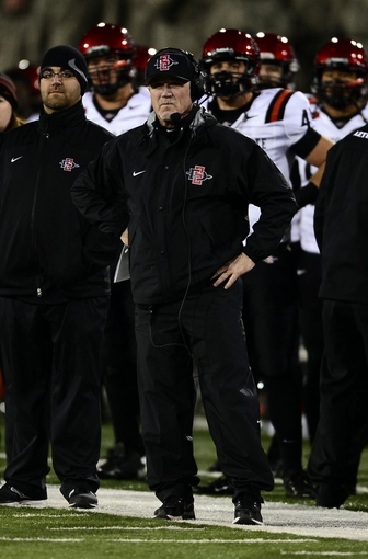 Oct 10, 2013; Colorado Springs, CO, USA; San Diego State Aztecs head coach Rocky Long on his sidelines during the fourth quarter against the Air Force Falcons at Falcon Stadium. The Aztecs defeated the Falcons 27-20. Mandatory Credit: Ron Chenoy-USA TODAY Sports
