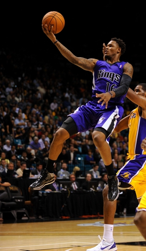 Oct 10, 2013; Las Vegas, NV, USA; Sacramento Kings guard Ben McLemore (16) leaps toward the basket during a fourth quarter scoring attempt against the Los Angeles Lakers during an NBA preseason game at MGM Grand Arena. The Kings won the game 104-86. Mandatory Credit: Stephen R. Sylvanie-USA TODAY Sports