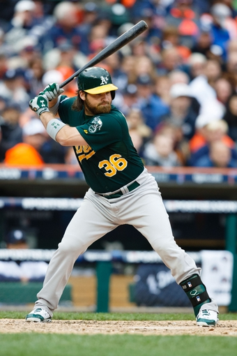 Oct 7, 2013; Detroit, MI, USA; Oakland Athletics catcher Derek Norris (36) at bat against the Detroit Tigers in game three of the American League divisional series playoff baseball game at Comerica Park. Mandatory Credit: Rick Osentoski-USA TODAY Sports