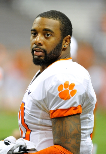 Oct 5, 2013; Syracuse, NY, USA; Clemson Tigers quarterback Tajh Boyd (10) looks on from the sidelines during the fourth quarter against the Syracuse Orange at the Carrier Dome.  Clemson defeated Syracuse 49-14.  Mandatory Credit: Rich Barnes-USA TODAY Sports