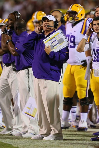 Oct 5, 2013; Starkville, MS, USA; LSU Tigers head coach Les Miles during the game against the Mississippi State Bulldogs at Davis Wade Stadium.  LSU Tigers defeated the Mississippi State Bulldogs 59-26.  Mandatory Credit: Spruce Derden-USA TODAY Sports