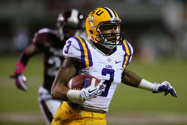 Oct 5, 2013; Starkville, MS, USA; LSU Tigers wide receiver Odell Beckham (3) reacts after scoring a touchdown during the game against the Mississippi State Bulldogs at Davis Wade Stadium.  LSU Tigers defeated the Mississippi State Bulldogs 59-26.  Mandatory Credit: Spruce Derden-USA TODAY Sports