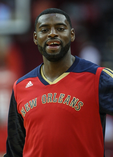Oct 5, 2013; Houston, TX, USA; New Orleans Pelicans point guard Tyreke Evans (1) warms up before a game against the Houston Rockets at Toyota Center. Mandatory Credit: Troy Taormina-USA TODAY Sports