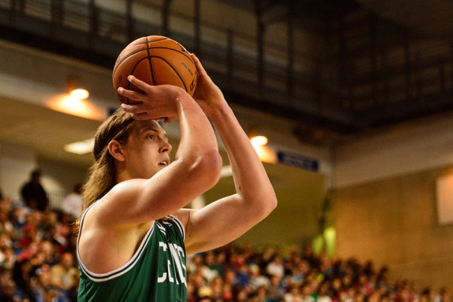 Oct 11, 2013; Newark, DE, USA; Boston Celtics forward Kelly Olynyk (41) shoots a jump shot during the fourth quarter against the Philadelphia 76ers at Bob Carpenter Sports Convocation Center. The Sixers defeated the Celtics 97-85. Mandatory Credit: Howard Smith-USA TODAY Sports