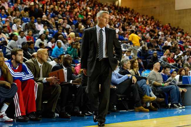 Oct 11, 2013; Newark, DE, USA; Philadelphia 76ers head coach Brett Brown during the fourth quarter against the Boston Celtics at Bob Carpenter Sports Convocation Center. The Sixers defeated the Celtics 97-85. Mandatory Credit: Howard Smith-USA TODAY Sports
